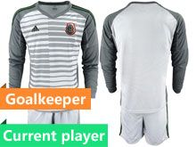 Mens 19-20 Soccer Mexico National Team Current Player Stripe White Goalkeeper Long Sleeve Suit Jersey