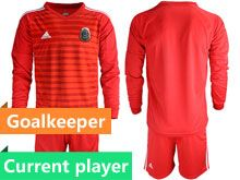 Mens 19-20 Soccer Mexico National Team Current Player Stripe Red Goalkeeper Long Sleeve Suit Jersey