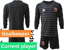 Youth Soccer 19-20 Mexico National Team Current Player Black Goalkeeper Long Sleeve Suit Jersey
