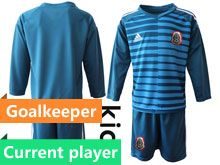 Youth Soccer 19-20 Mexico National Team Current Player Blue Goalkeeper Long Sleeve Suit Jersey