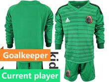 Youth Soccer 19-20 Mexico National Team Current Player Stripe Green Goalkeeper Long Sleeve Suit Jersey