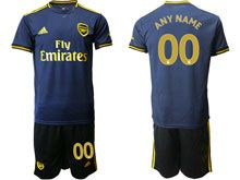 Mens 19-20 Soccer Arsenal Club ( Custom Made ) Navy Blue Second Away Short Sleeve Suit Jersey