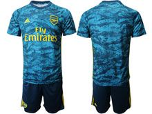 Mens 19-20 Soccer Arsenal Club ( Custom Made ) Blue Goalkeeper Short Sleeve Suit Jersey