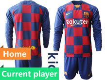 Kids 19-20 Soccer Barcelona Club Current Player Red And Blue Stripe Home Long Sleeve Suit Jersey