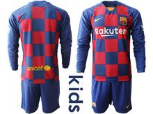 Kids 19-20 Soccer Barcelona Club ( Custom Made ) Red And Blue Stripe Home Long Sleeve Suit Jersey