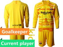 Kids 19-20 Soccer Barcelona Club Current Player Yellow Goalkeeper Long Sleeve Suit Jersey
