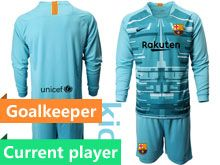 Kids 19-20 Soccer Barcelona Club Current Player Blue Goalkeeper Long Sleeve Suit Jersey