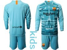 Kids 19-20 Soccer Barcelona Club ( Custom Made ) Blue Goalkeeper Long Sleeve Suit Jersey