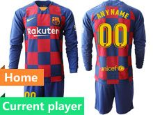 Mens 19-20 Soccer Barcelona Club Current Player Red And Blue Stripe Home Long Sleeve Suit Jersey