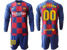 Mens 19-20 Soccer Barcelona Club ( Custom Made ) Red And Blue Stripe Home Long Sleeve Suit Jersey