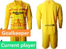 Mens 19-20 Soccer Barcelona Club Current Player Yellow Goalkeeper Long Sleeve Suit Jersey