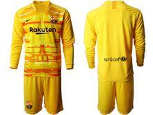 Mens 19-20 Soccer Barcelona Club ( Custom Made ) Yellow Goalkeeper Long Sleeve Suit Jersey