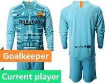 Mens 19-20 Soccer Barcelona Club Current Player Blue Goalkeeper Long Sleeve Suit Jersey