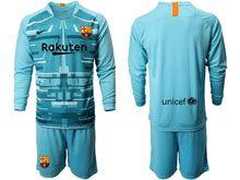 Mens 19-20 Soccer Barcelona Club ( Custom Made ) Blue Goalkeeper Long Sleeve Suit Jersey