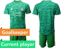 Mens 19-20 Soccer Leicester City Club Current Player Green Goalkeeper Short Sleeve Suit Jersey