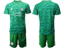 Mens 19-20 Soccer Leicester City Club ( Custom Made ) Green Goalkeeper Short Sleeve Suit Jersey