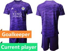 Mens 19-20 Soccer Leicester City Club Current Player Purple Goalkeeper Short Sleeve Suit Jersey