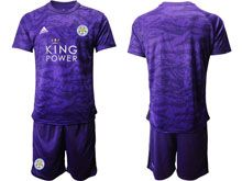 Mens 19-20 Soccer Leicester City Club ( Custom Made ) Purple Goalkeeper Short Sleeve Suit Jersey
