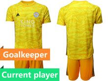 Mens 19-20 Soccer Leicester City Club Current Player Yellow Goalkeeper Short Sleeve Suit Jersey