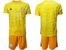 Mens 19-20 Soccer Leicester City Club ( Custom Made ) Yellow Goalkeeper Short Sleeve Suit Jersey