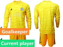 Mens 19-20 Soccer Leicester City Club Current Player Yellow Goalkeeper Long Sleeve Suit Jersey