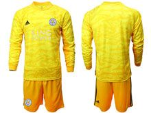 Mens 19-20 Soccer Leicester City Club ( Custom Made ) Yellow Goalkeeper Long Sleeve Suit Jersey