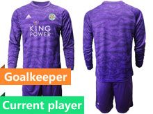 Mens 19-20 Soccer Leicester City Club Current Player Purple Goalkeeper Long Sleeve Suit Jersey