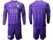 Mens 19-20 Soccer Leicester City Club ( Custom Made ) Purple Goalkeeper Long Sleeve Suit Jersey