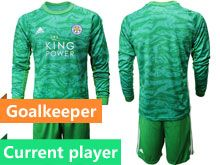Mens 19-20 Soccer Leicester City Club Current Player Green Goalkeeper Long Sleeve Suit Jersey