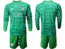 Mens 19-20 Soccer Leicester City Club ( Custom Made ) Green Goalkeeper Long Sleeve Suit Jersey