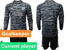 Mens 19-20 Soccer Leicester City Club Current Player Black Goalkeeper Long Sleeve Suit Jersey