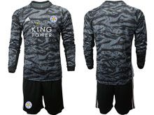 Mens 19-20 Soccer Leicester City Club ( Custom Made ) Black Goalkeeper Long Sleeve Suit Jersey
