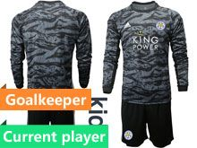 Kids 19-20 Soccer Leicester City Club Current Player Black Goalkeeper Long Sleeve Suit Jersey