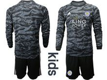 Kids 19-20 Soccer Leicester City Club ( Custom Made ) Black Goalkeeper Long Sleeve Suit Jersey