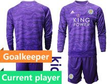 Kids 19-20 Soccer Leicester City Club Current Player Purple Goalkeeper Long Sleeve Suit Jersey