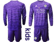 Kids 19-20 Soccer Leicester City Club ( Custom Made ) Purple Goalkeeper Long Sleeve Suit Jersey