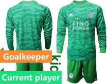 Kids 19-20 Soccer Leicester City Club Current Player Green Goalkeeper Long Sleeve Suit Jersey