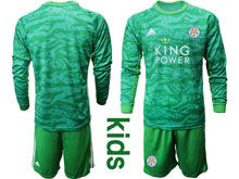 Kids 19-20 Soccer Leicester City Club ( Custom Made ) Green Goalkeeper Long Sleeve Suit Jersey
