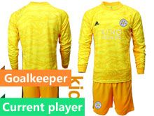 Kids 19-20 Soccer Leicester City Club Current Player Yellow Goalkeeper Long Sleeve Suit Jersey