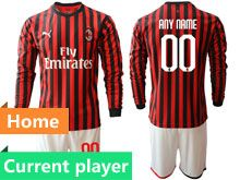 Mens 19-20 Soccer Ac Milan Club Current Player Red And Black Stripe Home Long Sleeve Suit Jersey