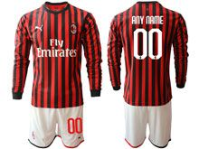 Mens 19-20 Soccer Ac Milan Club ( Custom Made ) Red And Black Stripe Home Long Sleeve Suit Jersey