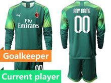 Mens 19-20 Soccer Ac Milan Club Current Player Green Goalkeeper Long Sleeve Suit Jersey