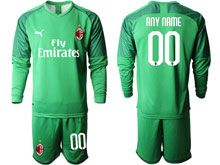 Mens 19-20 Soccer Ac Milan Club ( Custom Made ) Fluorescence Green Goalkeeper Long Sleeve Suit Jersey