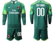 Mens 19-20 Soccer Ac Milan Club ( Custom Made ) Green Goalkeeper Long Sleeve Suit Jersey