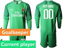 Mens 19-20 Soccer Ac Milan Club Current Player Fluorescence Green Goalkeeper Long Sleeve Suit Jersey