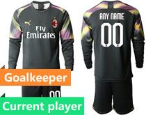 Mens 19-20 Soccer Ac Milan Club Current Player Black Goalkeeper Long Sleeve Suit Jersey