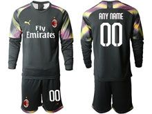 Mens 19-20 Soccer Ac Milan Club ( Custom Made ) Black Goalkeeper Long Sleeve Suit Jersey