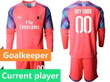 Mens 19-20 Soccer Ac Milan Club Current Player Pink Goalkeeper Long Sleeve Suit Jersey