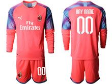 Mens 19-20 Soccer Ac Milan Club ( Custom Made ) Pink Goalkeeper Long Sleeve Suit Jersey