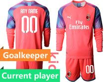 Kids 19-20 Soccer Ac Milan Club Current Player Pink Goalkeeper Long Sleeve Suit Jersey